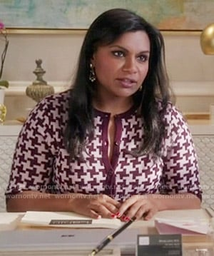Mindy's purple houndstooth print cardigan on The Mindy Project