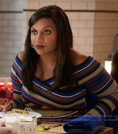 Mindy's striped off-shoulder dress on The Mindy Project