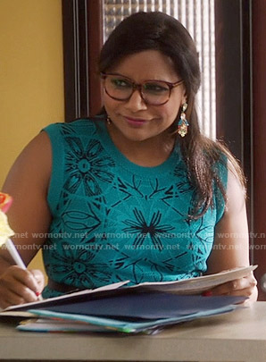 Mindy's teal patterned dress on The Mindy Project