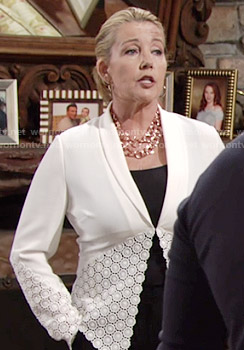 Nikki's white lace panel blazer on The Young and the Restless