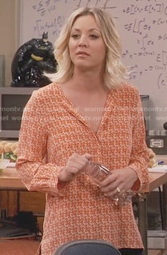 Penny's orange seahorse print blouse on The Big Bang Theory