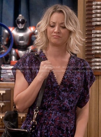 Penny's purple printed peplum blouse on The Big Bang Theory