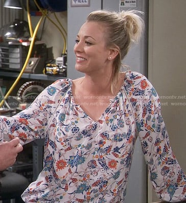 Penny's floral long sleeve top on The Big Bang Theory