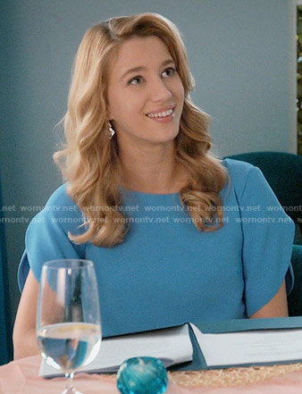 Petra's blue tulip sleeve dress on Jane the Virgin