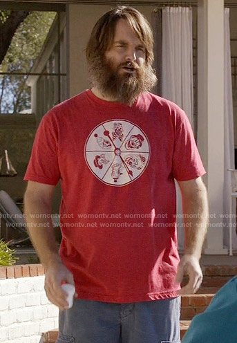 Phil's red clown t-shirt on Last Man on Earth