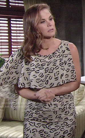 Phyllis's animal printed one-sleeve dress on The Young and the Restless