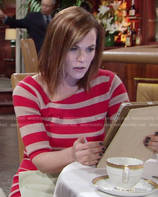 Phyllis's red striped dress on The Young and the Restless