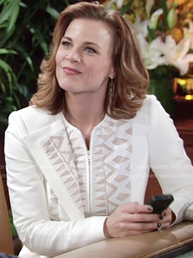 Phyllis's white patterned jacket on The Young and the Restless