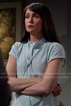 Quinn's aqua blue tie-neck blouse on The Bold and the Beautiful