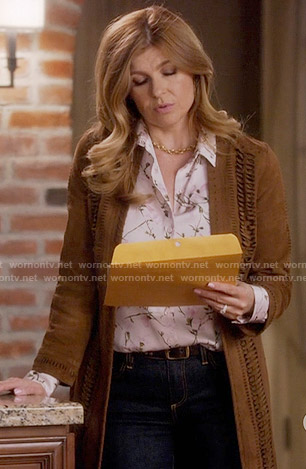 Rayna's floral shirt and suede coat with braided detail on Nashville