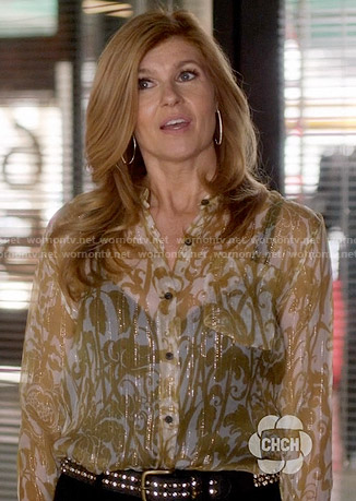 Rayna's yellow printed blouse on Nashville