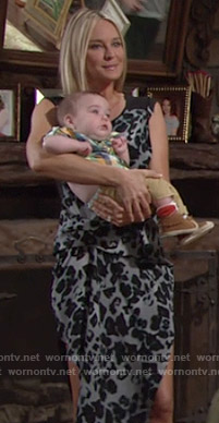 Sharon's grey leopard print dress on The Young and the Restless
