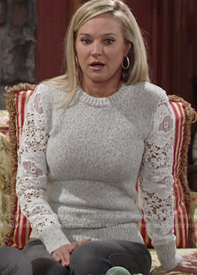 Sharon's lace sleeve sweater on The Young and the Restless