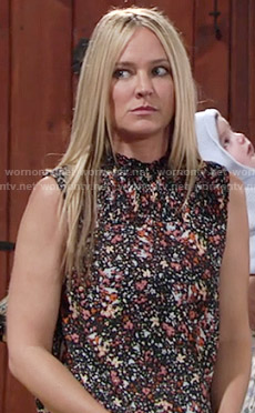 Sharon's printed smocked-neck top on The Young and the Restless