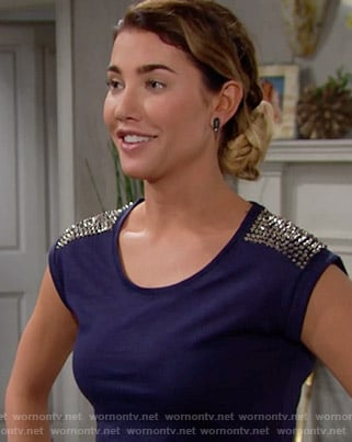 Steffy's blue top with studded shoulders on The Bold and the Beautiful