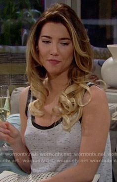 Steffy's speckled tank top on The Bold and the Beautiful