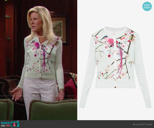 Ted Baker Flight of the Orient Cardigan worn by Pamela Douglas (Alley Mills) on The Bold & the Beautiful