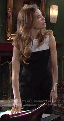 Victoria's black and white collared jumpsuit on The Young and the Restless