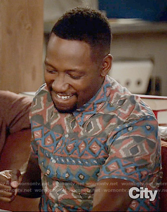 Winston's ikat printed short sleeved shirt on New Girl