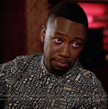 Winston's symbols printed shirt on New Girl