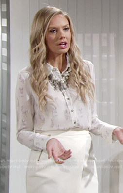 Abby's rabbit print top and white wrap skirt on The Young and the Restless