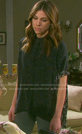 Abigail's leopard and floral print shirt on Days of our Lives