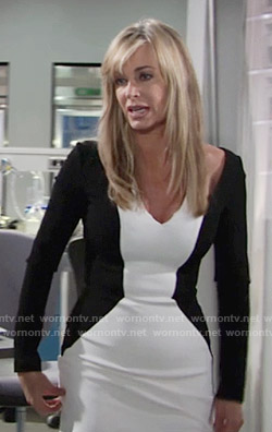 Ashley's black and white long sleeved colorblock dress on The Young and the Restless