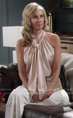 Ashley's blush pink tie neck blouse on The Young and the Restless