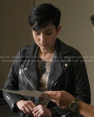 Audrey's leather moto jacket on Scream