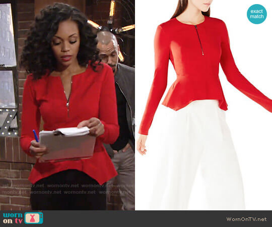Bcbgmaxazria Jaynie Peplum Top worn by Mishael Morgan on The Young & the Restless