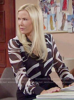 Brooke's zebra print blouse on The Bold and the Beautiful