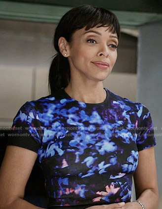 Camille's black and blue floral dress on Bones