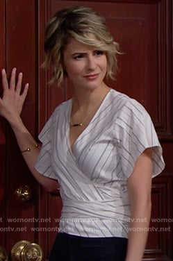 Caroline's striped wrap top on The Bold and the Beautiful