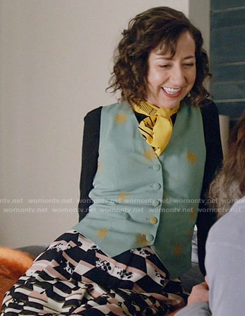 Carol's measuring tape blouse and printed culottes on Last Man on Earth