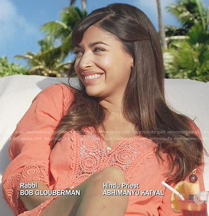 Cece's coral swim cover-up on New Girl