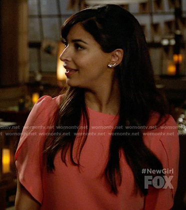 Cece's coral tulip sleeve dress on New Girl
