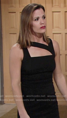 Chelsea's black asymmetric cutout dress on The Young and the Restless