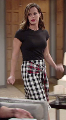 Chelsea's checked shirt with tie waist on The Young and the Restless