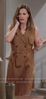 Chelsea's sleeveless suede trench dress on The Young and the Restless