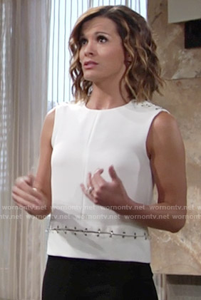Chelsea's white sleeveless linked top on The Young and the Restless