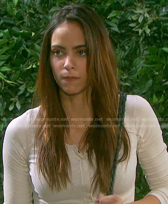 Ciara's off-white henley top on Days of our Lives