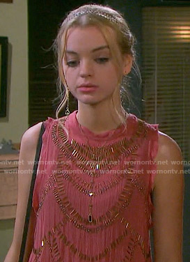 Claire's coral beaded top on Days of our Lives