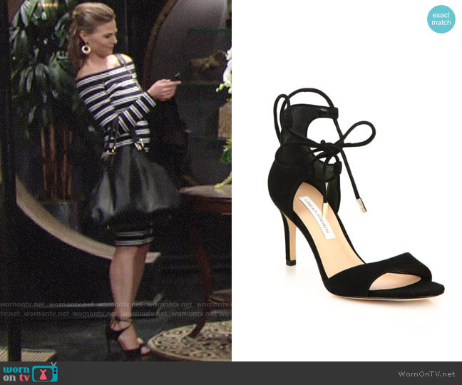Diane von Furstenberg Rimini Ankle Wrap Sandal worn by Gina Tognoni on The Young & the Restless