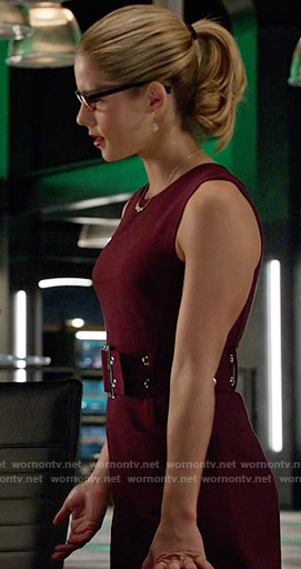 Felicity's burgundy belted dress on Arrow
