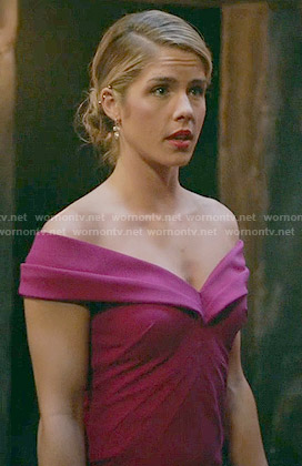 Felicity's pink off-shoulder gown on Arrow