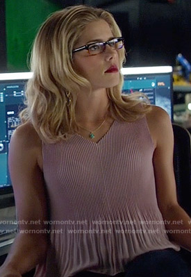 Felicity's pink pleated top on Arrow