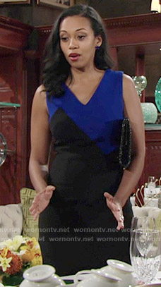 Hillary's black and blue colorblock dress on The Young and the Restless