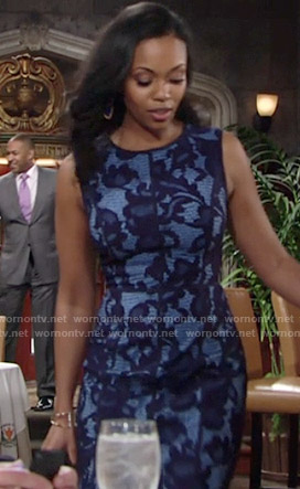 Hilary's blue lace dress on The Young and the Restless