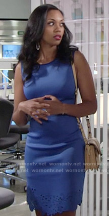 Hilary's blue dress with cutout trim on The Young and the Restless