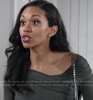 Hilary's grey ruched long sleeve top on The Young and the Restless